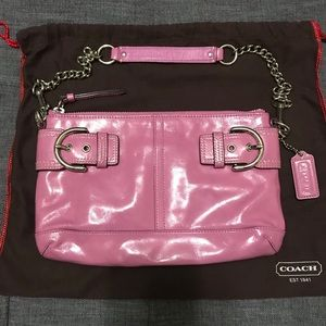Coach pink patent leather chain handle handbag